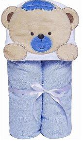 Toalha de Banho Forrada De Fralda Bichinhos Capuz Ursinho Bebê Azul Papi