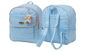 Mochila Maternidade G  Azul Bebê Escolinha Creche Menino