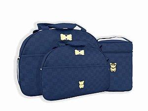 Kit de Bolsa, frasqueira, porta mamadeira térmica e trocador Azul Marinho