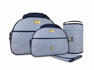 Kit de Bolsa, frasqueira, porta mamadeira térmica e trocador Azul Claro