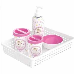 Kit Higiene Para Bebê 5 Peças Bailarina Com Bandeja Decorada