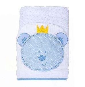 Toalha Fralda Papi Soft Capuz Bichinho Ursinho Recém Nascido Azul