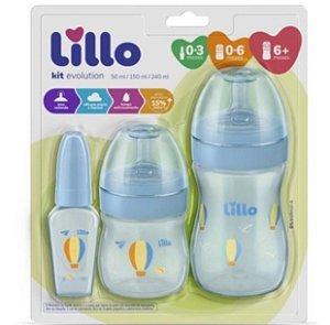 Kit Com 3 Mamadeiras Lillo Primeiros Passos Bebe Infantil Rn Azul