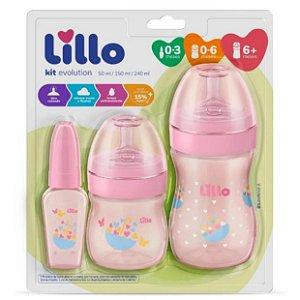 Kit Com 3 Mamadeiras Lillo Primeiros Passos Bebe Infantil Rn Rosa