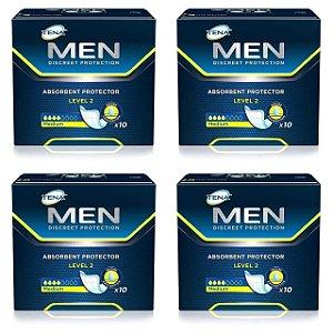 Kit Com 4 Pacotes Absorvente Masculino Tena Men - 10 Unidades Cada Caixa