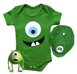 Kit Body Bebê MIke Monstros SA Com Boina