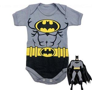 Body Bebê Batman Cinza