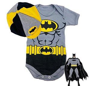 Kit Body Bebê Batman Cinza Com Boina