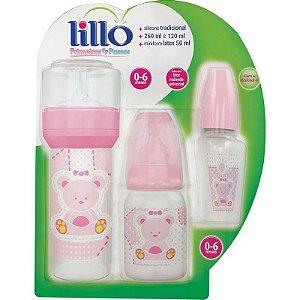 Kit Mamadeira 50/120/260 Ml Primeiros Passos Rosa - Lillo