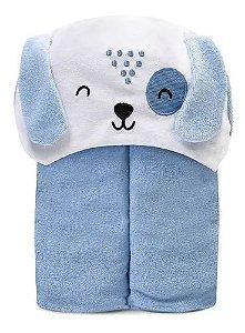 Toalha De Banho Bebê Atoalhada Forrada C/ Capuz Azul Mami Bichuus