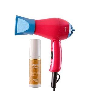 COMBO: Mini Secador de Cabelos Bivolt Aninha + Spray Protetor Térmico Super Versátil