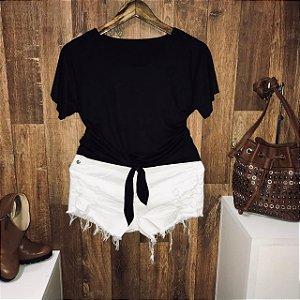 T-shirt Fashion Suede de Amarrar Preto