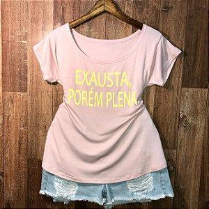 T-shirt Plus Size Exausta Porém Plena Neon