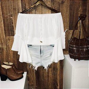 Blusa Ciganinha Crepe Manga 3 4 Lacinho Branca