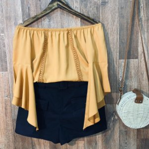 Blusa Ciganinha Manga 3|4 Renda Caramelo