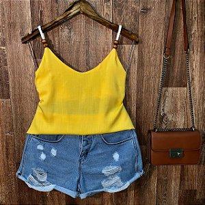 Blusa de Alcinha Corda Fashion Darah Amarela