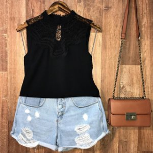 Blusa Regata com Renda Fashion Lohaine Preto