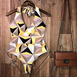 Body Frente Única Com Bojo Alana Mosaico com Amarelo