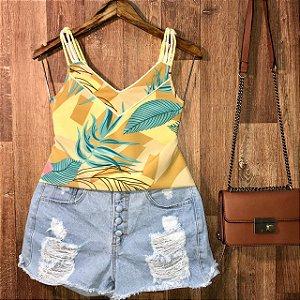 Blusa Alcinha de corda Luana folhas amarela