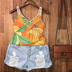 Blusa Alcinha de corda Luana folhas laranja