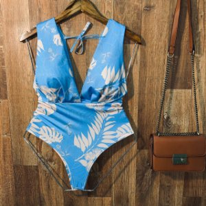 Body Regata de Amarrar com Bojo Luana Floral Azul