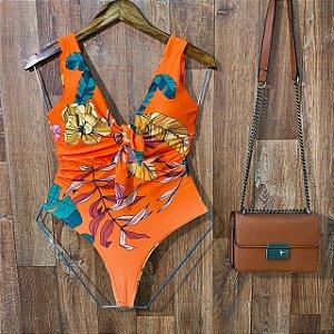 Body Regata Decote U com Bojo Luana Floral Laranja