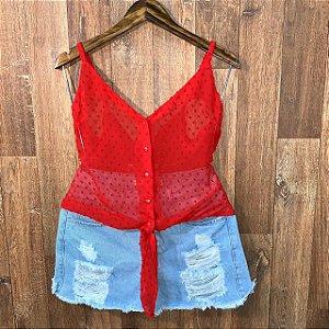 Blusa Alcinha Transparente com Botões Jade Vermelha