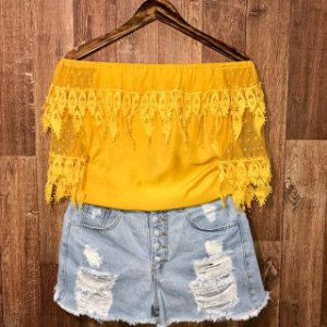 Blusa Ciganinha Renda e Perolas Tatiana Amarelo