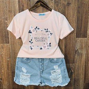 T-shirt Roses com Perolas Rosê