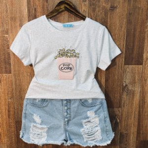 T-shirt Pop Corn com Perolas Cinza
