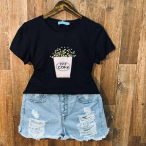 T-shirt Pop Corn com Perolas Black