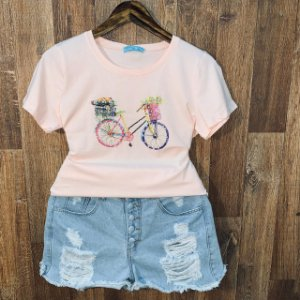T-shirt Bicicleta com Perolas Rosê