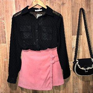 Camisa Chiffon Transparente com Bolso Monalisa Black