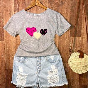 T-shirt Valentines Alto Relevo Cinza