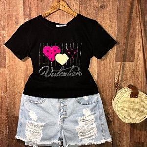 T-shirt Valentines Alto Relevo Preto