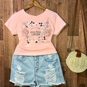 T-shirt Roses Garden Alto Relevo Rosa