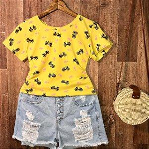 T-shirt Motoheart Estampa Dupla Amarelo