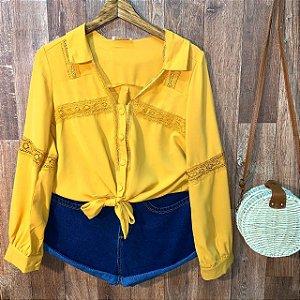 Camisa de Amarrar e Renda Monalisa Amarelo