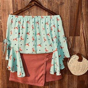 Blusa Ciganinha Manga 3 4 Lacinho Monalisa Flamingos Verde