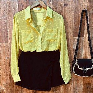 Camisa Chiffon Poá Transparente Monalisa Amarela