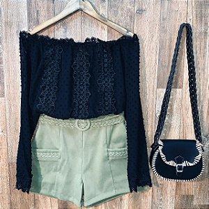 Short com Trançado Verde