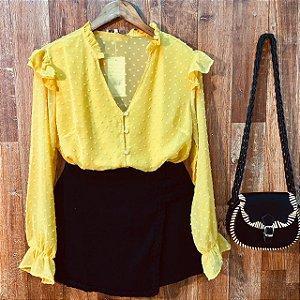 Camisa com Botões Encapados Monalisa Amarela
