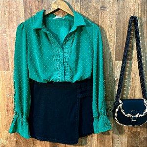 Camisa Chiffon com Guipir Bruna Verde
