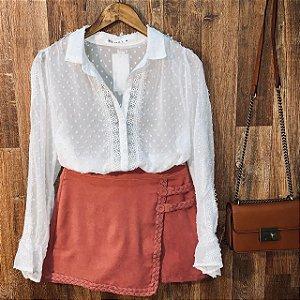 Camisa Chiffon com Guipir Bruna White