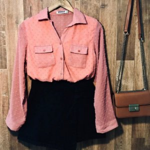 Camisa Chiffon Manga longa com Bolso Bruna Rosê
