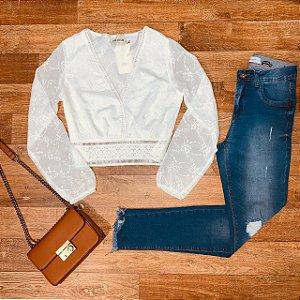 Calça Jeans Dardak Cigarrete  Esther Rasgos 1680 Azul Claro