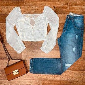Calça Jeans Dardak Mom Rasgada 1620 Azul Claro