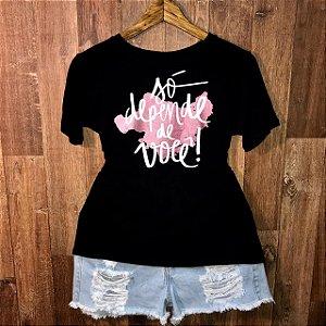 Camiseta Top Heart Só Depende de Você com Glitter