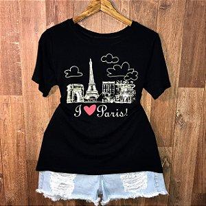 Camiseta Top I Love Paris