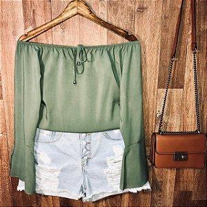 Blusa Ciganinha Manga Longa Verde